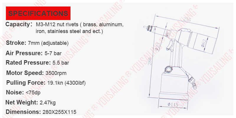 High Quality M3-M12 Automatic Air Rivet Nuts Tool Pneumatic Nut Riveter Nut  Riveter Gun