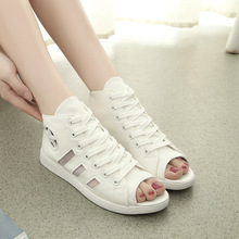 Women's shoes summer casual hollow fish mouth canvas sandals