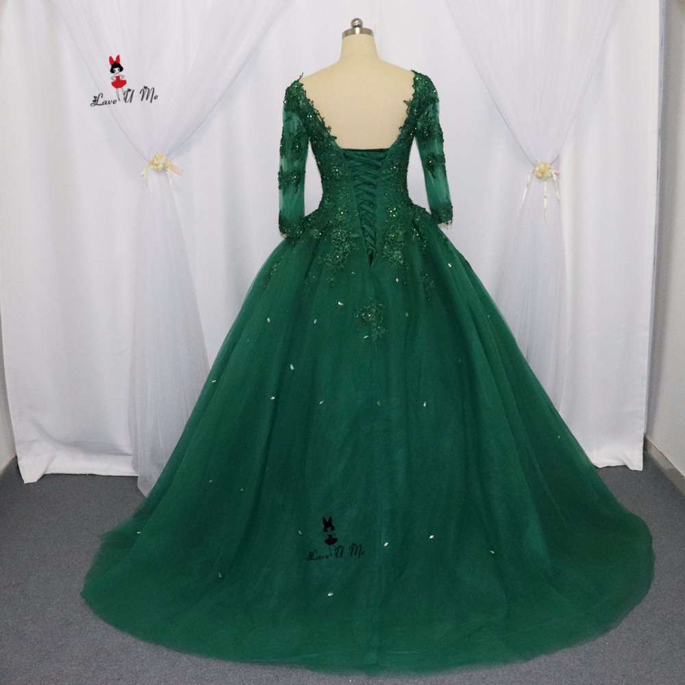 Vestidos De 15 Anos Green Lace Cheap Quinceanera Dresses 2017 Ball Gown Plus Size Sweet 16 Dresses Corset Back Crystals Prom