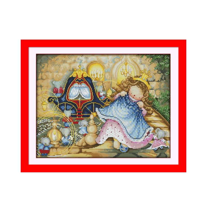 Cartoon Anime Fairy Tale Characters Cross Stitch Kit Snow White Cinderella Pea Princess Thumbs Up Hand Embroidery