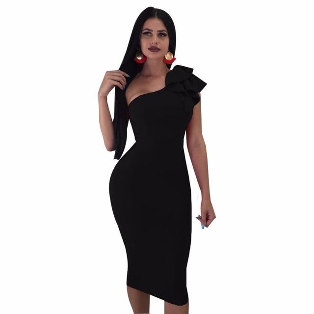 Sweet Sexy Style Women Dress Solid One Off Shoulder Midi Plus Size XXL  Ruffles Bodycon Dress Hot Ladies Nightout Clubwear 69682c827940