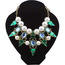 Fashion Vintage Retro Imitation Pearl Crystal Necklaces Gem Stone Statement Choker Necklace & Pendants For Lady Wedding Gift NB