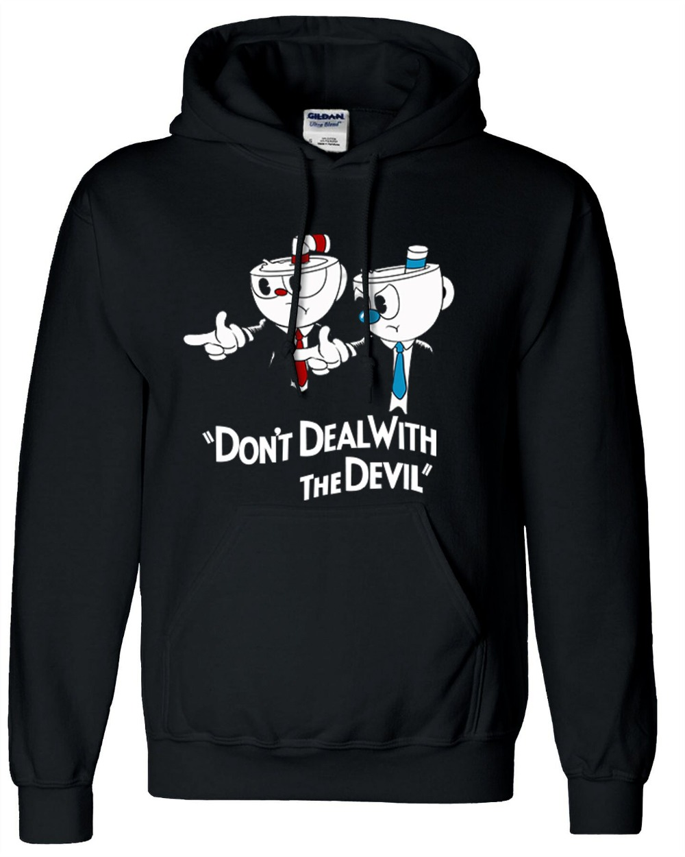 Hot Game Cuphead Hoodies Zip Up Cotton Black Hooded Winter Warm Fleece Black Sweatshirts Coats Hoodie