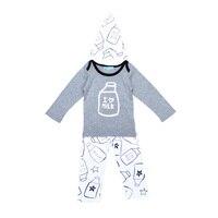 높은 품질의 봄 아기 만화 우유 패턴 T 셔츠 + 인쇄 바지 + 모자 3 개 세트 패션 키즈 의류 소년 세트