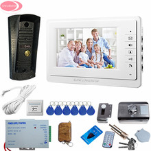 Wholesale prices Wired 7″ TFT Video Door Phone Intercom Entry System 1 Screen + Night Vision 700lines Waterproof Camer+Rfid Cards Electronic Lock