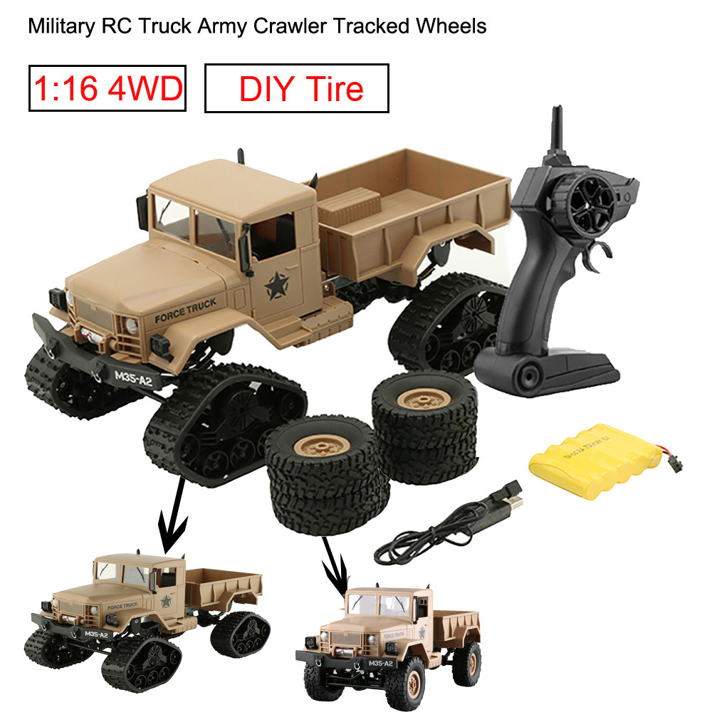 FY001C RC Car RC Military Truck Army Tracked Wheels 1 16 4WD RC Crawler Off Road