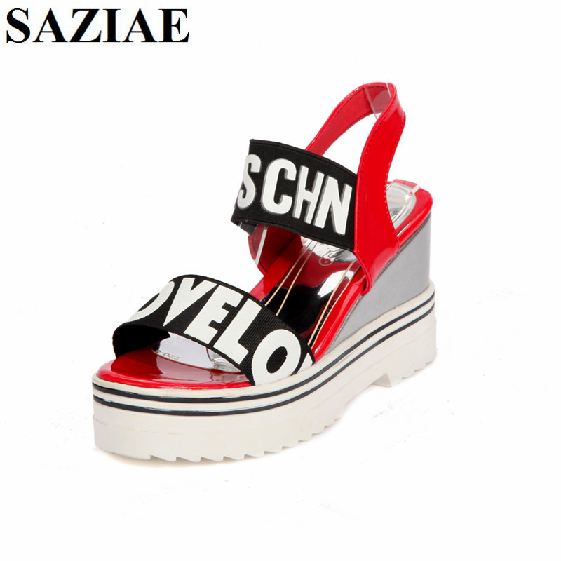 [SAZIAE]Women Wedges Open Toe Sexy Sandals Women's Platform Sandals Fashion Summer Shoes Woman Casual Shoes High-heeled Sandals phyanic 2017 gladiator sandals gold silver shoes woman summer platform wedges glitters creepers casual women shoes phy3323