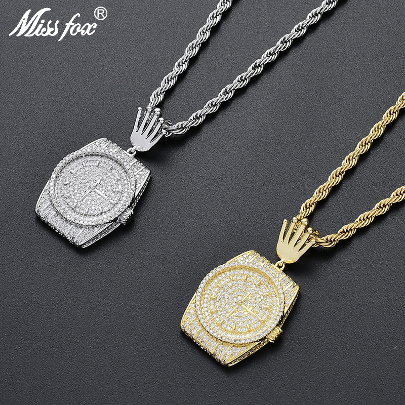 Missfox personnalité laboratoire complet montre diamant forme pendentif collier pour hommes cadeau Hip Hop Aaa haute qualité bijoux créatifs le nouveau