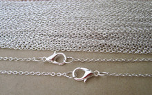 цена на 50pcs/lot  19inch Silver color (copper) Link chain with Lobster clasp 1.5mm