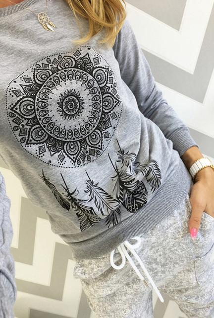 Women Long Sleeve Print Casual Hoodie Sweatshirt
