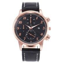 2019 Relogio Masculino Watch Mens Fashion Sports Alloy Case Leather Strap Quartz Business  watch