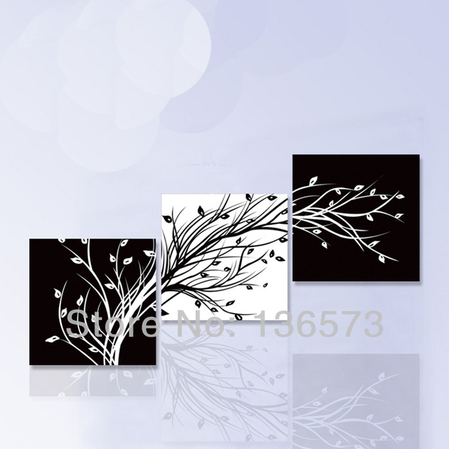 Hand painted 3 piece art sets black white flower tree wall modern oil painting on canvas