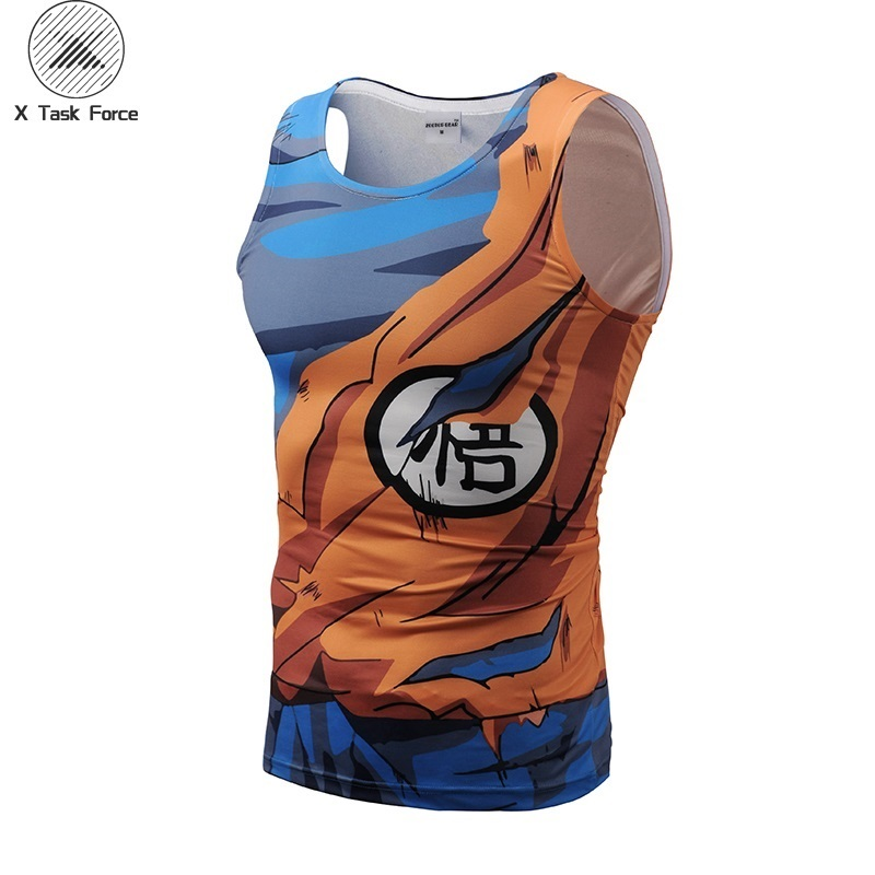 Men's   Tank     Tops   Fashion Brand Sleeveless Bodybuilding Vest Summer 3D Print Anime Dragon Ball Son Goku New Plus Size S-3XL
