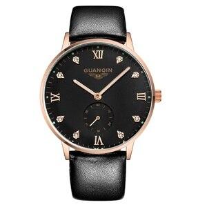 Image 4 - Original GUANQIN Uhren Männer Luxus Top Marke Mechanische Uhr Mode Business Hardlex Casual Armbanduhr Leder Männlichen Uhren