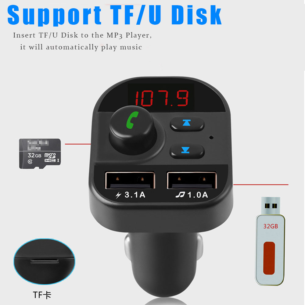 VR robot Bluetooth Car MP3 Player Wireless FM Transmitter TF/U Disk Car Audio Receiver Adapter with 5V 3.1A Fast USB Charger