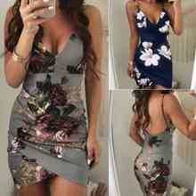 Floral V Neck Sleeveless Mini Dress