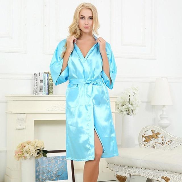 Light Blue Chinese Women Silk Rayon Robe Sexy Lingerie Summer Lounge Kimono Nightgown Sleepwear pijama feminino Plus Size S-XXXL