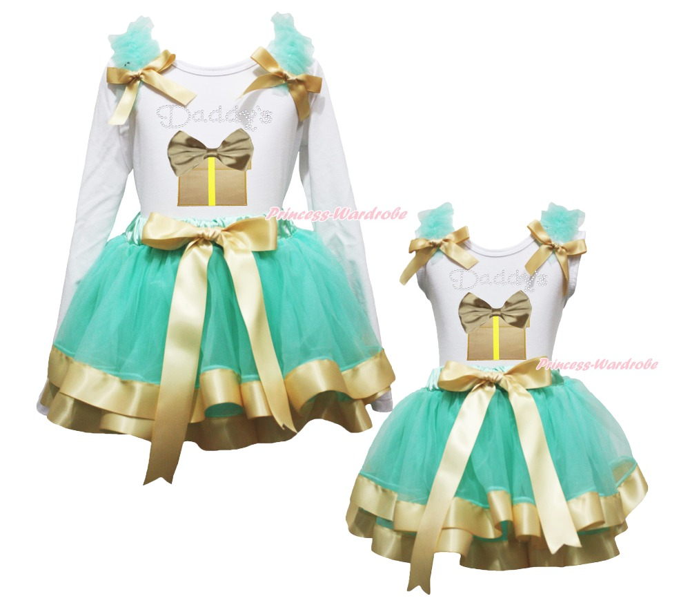 Valentine Daddy Gift Box White Top Aqua Blue Gold Satin Trim Skirt Girls NB-8Y white valentine браслет