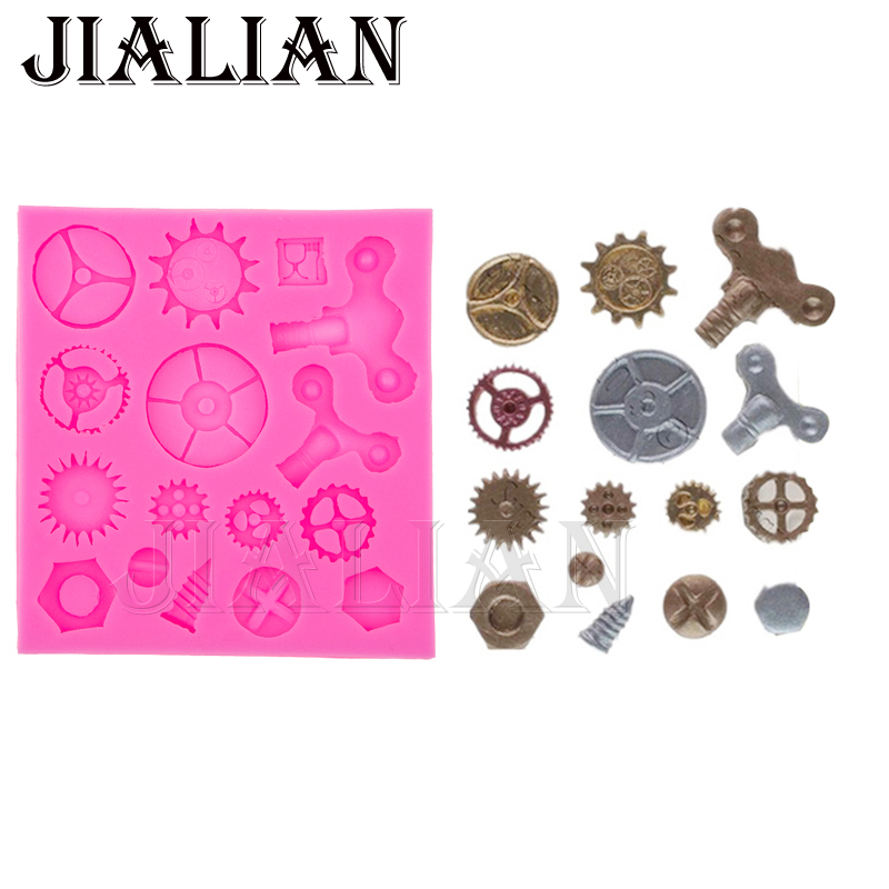 Cake fondant silicone mold Gears gearwheel Cake Molds Cupcake Mould Chocolate Baking Tools for Cakes decoration T0576