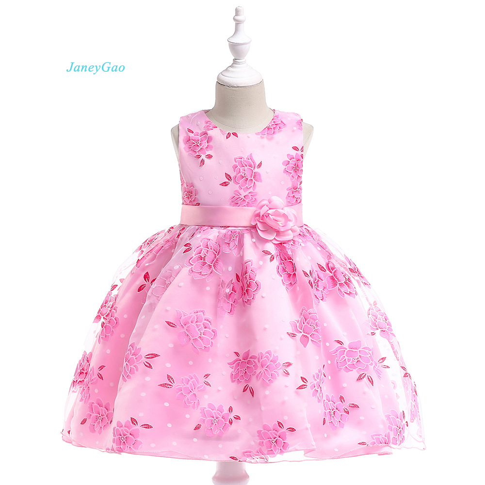 JaneyGao   Flower     Girl     Dresses   With Embroidery   Flower   Pink Children   Dress   Pageant Formal Gown With Cute   Flower   Little   Girl   Gown