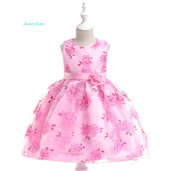d542f7d3a JaneyGao vestidos de niña de las flores con bordado de La Flor Rosa niños  vestido desfile vestido Formal con linda flor niña vestido de