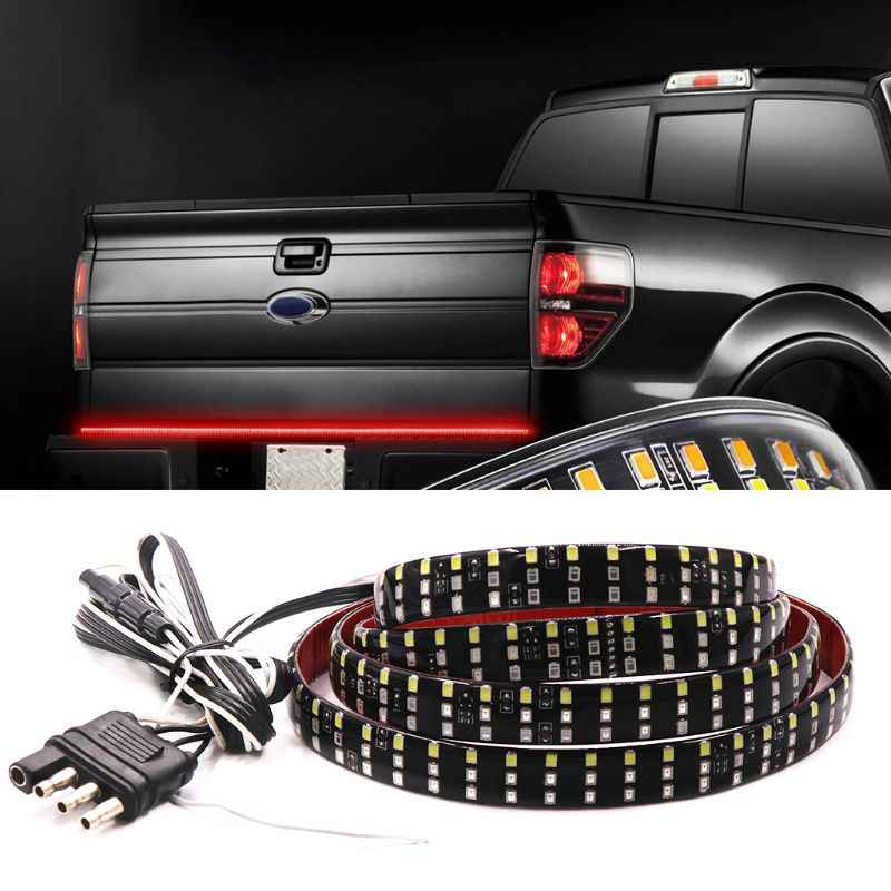 60 Triple 3 Row Led Tailgate Light Bar With Amber Turn