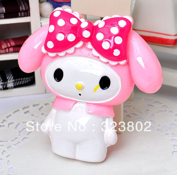 Flatback Resin Doll Pink Hat Melody Rabbit with White Dots Red Bow _ Cell Phone Case Jewelry Accessories Cabochon Supply 2PCS