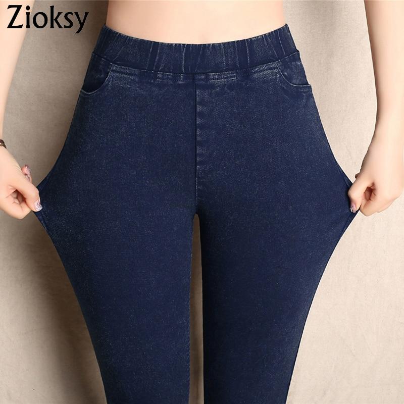 Big Yards 2019 Spring Autumn Lmitation Jeans Pants Women Elastic Waist Trousers Ladies Vintage Pencil Slim Skinny Jeans 3 Colors