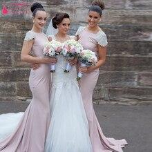 Flügelärmeln Jewel Lange Meerjungfrau Brautjungfernkleider Elegantes Backless Hochzeitsgast Kleider abschlussball-formale Kleider Z717