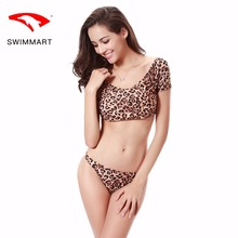 SWIMMART bikini high-end T-shirt top leopard swimsuit high waist swimwear women push up swim suit