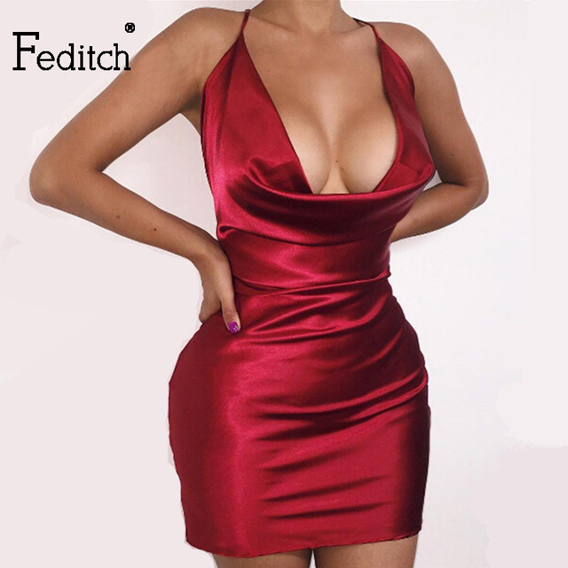 Feditch 2017 New Fashion Women Satin Outfit Sexy Party Dresses Halter  Bandage Bodycon Dress Hot Sale c8a4d78a8aec