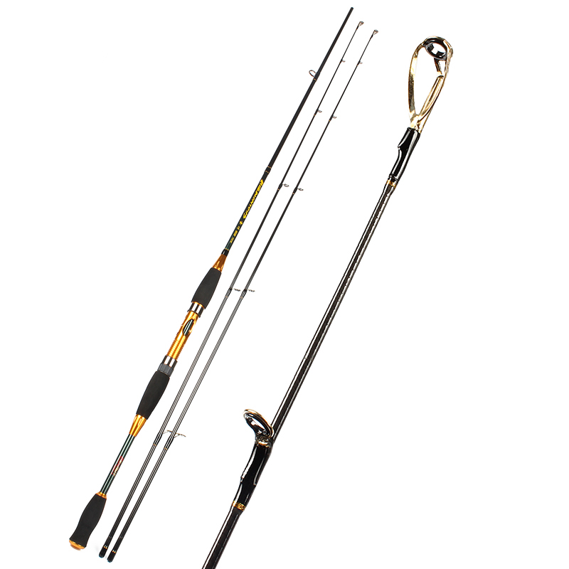 Carbon Spinning Golden Fishing Rod 2.1M 1.98m 2.4M 2 section Free shipping By EMS