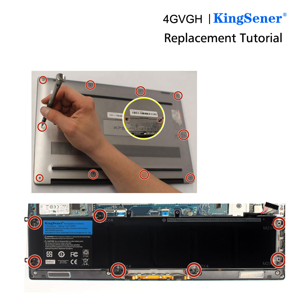 Image 5 - KingSener New 4GVGH Laptop Battery for DELL Precision 5510 XPS 15 9550 series 1P6KD T453X 11.4V 84WH-in Laptop Batteries from Computer & Office