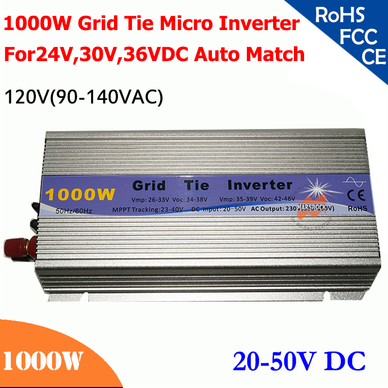 1000W grid tie micro inverter,20V-50V DC, 90V-140V AC, workable for 1200W, 24V, 30V, 36V solar panel or wind system, silver
