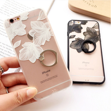 For iPhone 5 5s 6 6s Plus 7 Plus Ring Grip Lace Flower Pattern Cover Case PC Hard Relief Back Cover Cases Half Rose Capa Fundas