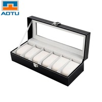 AOTU 6 Grid Luxury Refinement Slots Wrist Watches Gift Case Jewelry Display Boxes Storage Holder For