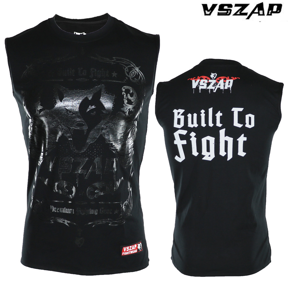 VSZAP Boxing MMA Shirt Gym Tee Shirts Sleeveless Combat Arts Fitness Clothes Fighting Movement Muscle Muay Thai T Shirt