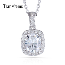 Transgems 14K White Gold 585 6X7MM 1.5 Carat F Color Moissanite Cushion Cutting Halo Pendant Necklace for Women Free Shipping