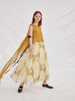 2019 коллекция ss винтажное печатное длинное шелковое платье без рукавов для женщин