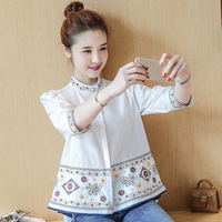2017 Ethnic Style Floral Embroidery Cotton Shirt 3 4 Sleeve Vintage Doll Blouse Ladies Summer Casual