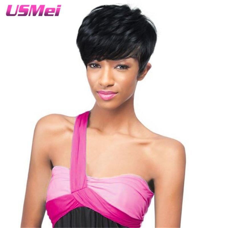 Natural Cheap Hair Wig Crochet Braids Hairstyles Mannequin Head Goldway Pruiken Short black Wigs Heat Resistant