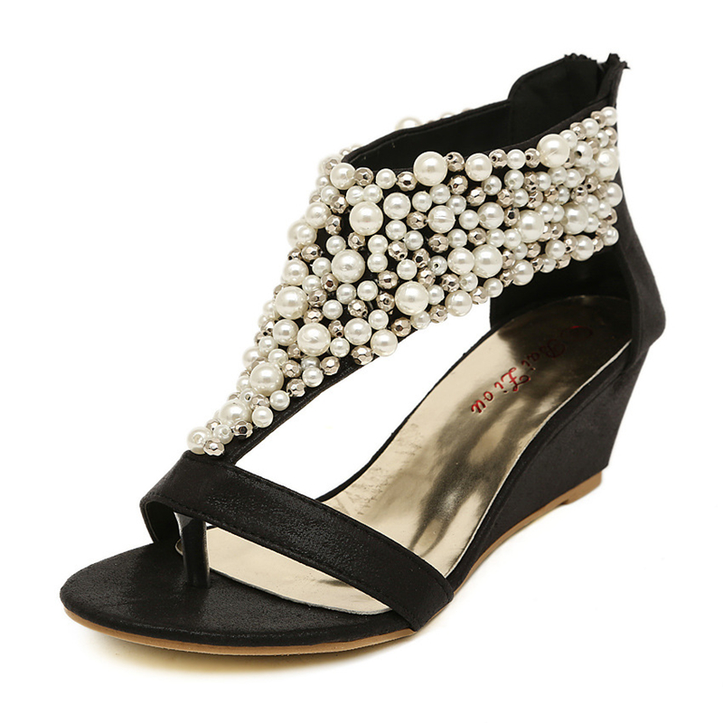 ea36dc41ba294 2016 New Summer open toe Rhinestone zipper pearl beaded wedges sandals  women shoes high heel studded heels Black Gold Woman-in Women s Sandals  from Shoes on ...