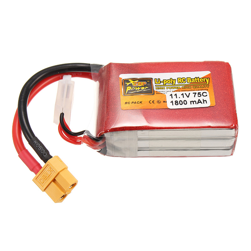 Rechargeable ZOP Power 11.1V 1800mAh 75C 3S XT60 Plug Connector Lipo Battery For RC Toys Models Quadcopter 3 6v 2400mah rechargeable battery pack for psp 3000 2000