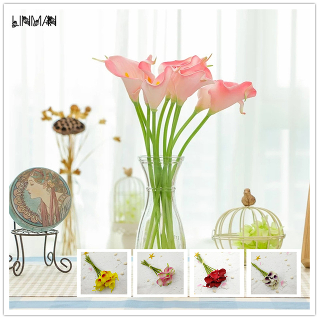 20 PC Artificial Fake Flowers Calla Lily Fake Flower Wedding Home Decor  Bouquet Real Touch Flowers