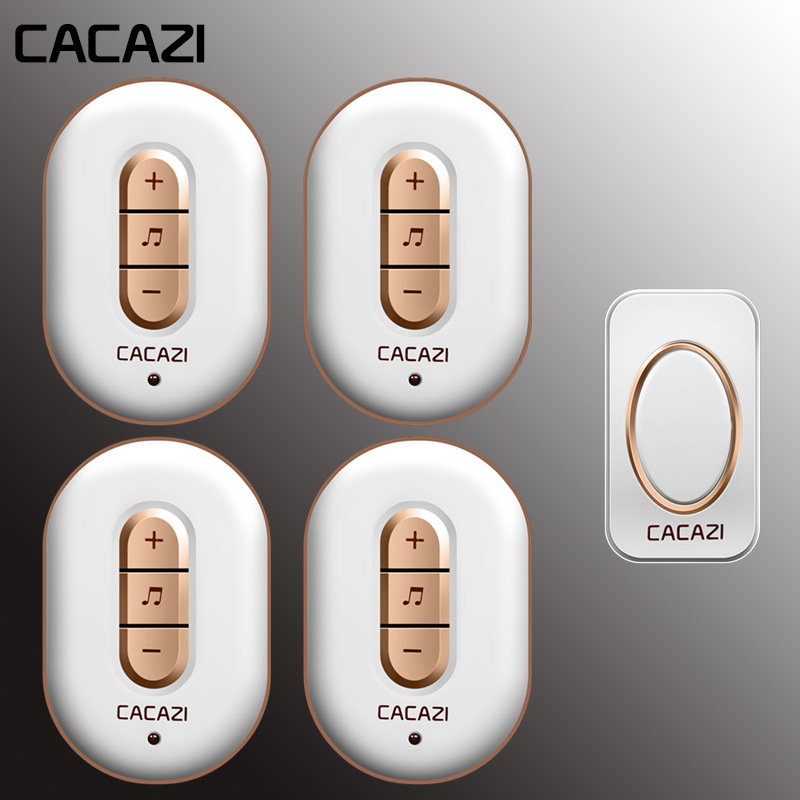 CACAZI Wireless Doorbell Waterproof Smart Led Home Calling Bell Receiver Us Eu Plug Battery Button 280m Remote 48 Songs 6 VolumeCACAZI Wireless Doorbell Waterproof Smart Led Home Calling Bell Receiver Us Eu Plug Battery Button 280m Remote 48 Songs 6 Volume