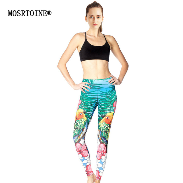 MOSRTOINE Women Print Leggings 2017 Summer Sporting Style Yuga High Waist Fitness Elastic Flower Print Women Leggings Fashion