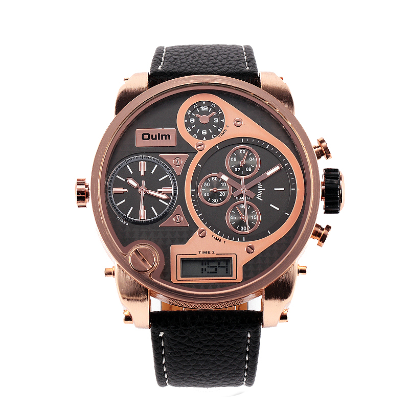 Fashion Oulm Brand Men Rectangle Leather Band Sport Quartz Watch 3 Time Zone Military Wristwatches With Gift Box Relogio Releges oulm brand mens leather band japan movt quartz watch dual time zone fashion hit color wristwatches with gift box relogio releges