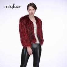 Milyfuer Silver Fox Fur Coats Women Fashion Keep Warm Full Pelt Knitted Short Natural Fox Fur Coat Winter Thick Real Fur Jackets