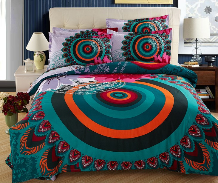 Bohemia bedding sets BOHO style duvet cover full queen size double cotton bed sheets bedspread linen quilt Peacock feather print