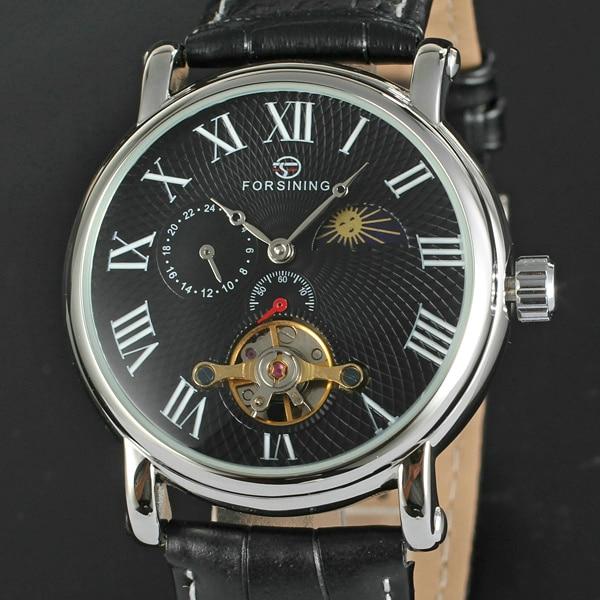2018 WINNER Men Automatic Mechanical Watch Tourbillon 24-hours Hands Men Wrist Watch Leather Watch Band Moon Sun Phase цена и фото